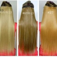 Fashionable Kanekalon Long Straight Synthetic Full Head Clip in Hair Extensions Ch011-6PH613
