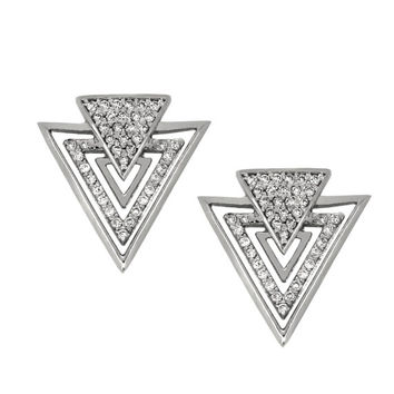 14k solid white gold diamond arrow earrings. triangle earrings.
