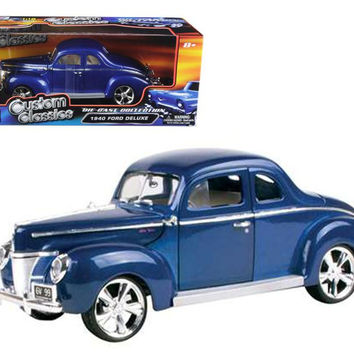 1940 Ford Coupe Deluxe Blue With Custom Wheels 1-18 Diecast Car Model by Motormax