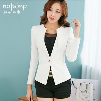 New Fashion blazer women Slim suit jacket Casual Jacket Sleeve One Button Suit Outerwear Yellow Ladies Blazers Work Wear Blaser