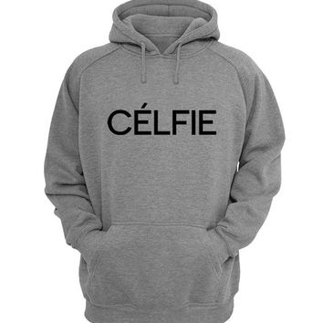celfie Hoodie Sweatshirt Sweater Shirt Gray for Unisex size with variant colour