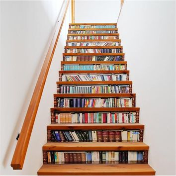 Home Decor 3D Stairs Stickers Imitation Bookcase Various of Windows Wall Stickers Self-adhesive Stair Decal