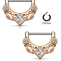 Square CZ Floral Fan Nipple Clicker Rings Barbell Barbells 14g 316L Stainless Steel - Sold as a Pair (Rose Gold Tone)