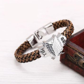 Attack on Titan Silver Scout Regiment Leather Punk Bracelet