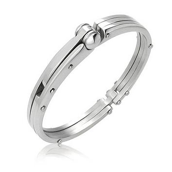 Partner in Crime H cuff s Bracelet Bangle Silver Tone Stainless Steel