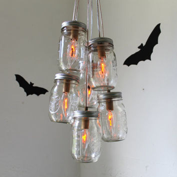 HALLOWEEN Mason Jar Chandelier - Rustic Autumn Wedding Indian Summer Hanging Mason Jar Pendant Lighting Fixture by BootsNGus.etsy.com