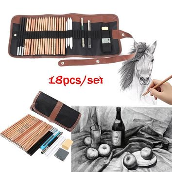 18pcs/set Sketch Tool kit Pencils Charcoal Extender Paper Pen Cutter Eraser Drawing Set (Size: 18pcs/set, Color: Black)