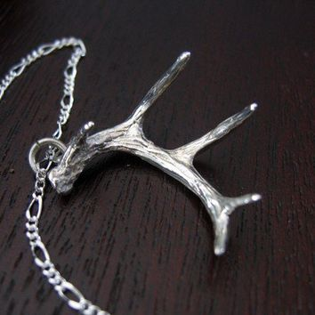 Sterling Silver Whitetail Deer Antler Pendant Necklace by mrd74