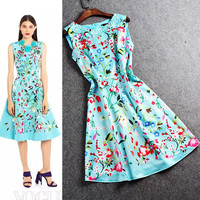 Floral Embroidered Waist Pleated Swing Dress
