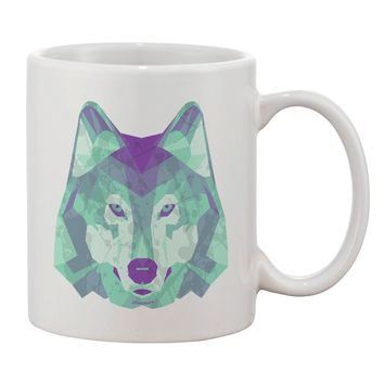 Geometric Wolf Head Printed 11oz Coffee Mug by TooLoud