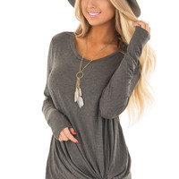 Charcoal Long Sleeve Tee Shirt with Front Twist
