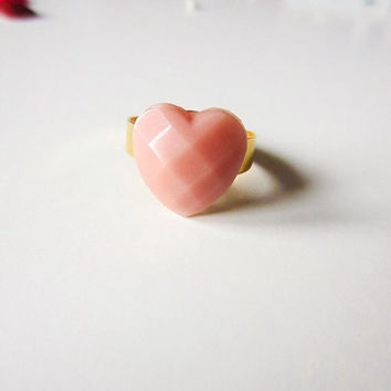 "PINK ""powder"" HEART resin RING * boho-chic * sophisticated * romantic * fashion colour * retrò style * small"