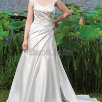 Sweetheart Neckline Duchess satin Ruched Bodices with Cap Sleeves A-line Wedding Dress Sweep Train Corset Back