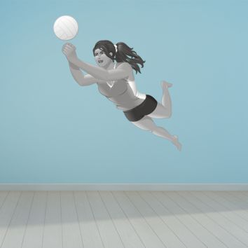 Wall Art Volleyball Player Up Hit Girl Wall Decals Removable Repositionable Fathead style