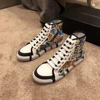 D&G DOLCE & GABBANA Men's Leather Fashion High Top Sneakers Shoes