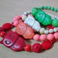 Owl Turquoise & Lotus Bracelet (Available in 4 Colors) from Pelhuaz by Red