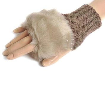 Fashion Women Lady Girl Faux Rabbit Fur Hand Wrist Warmer Winter Fingerless Gloves