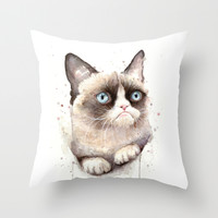 Grumpy Watercolor Cat Throw Pillow by Olechka