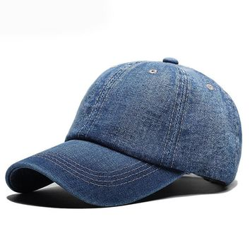 Muchique Denim SnapBack Baseball Summer Dad Hat Plain Solid Color Caps