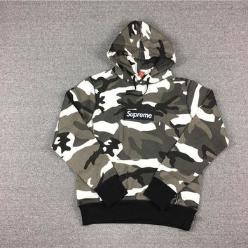 qiyif 2017/SS Supreme Snow Red Camo Box Logo Hoodie Snow camouflage coat S-XL DM305
