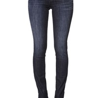 Bullhead Denim Co Low Rise Dark Sky Blue Skinny Jeans - Womens Jeans - Blue -