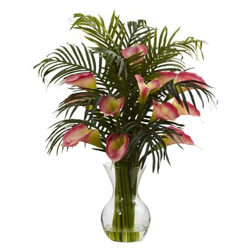 Artificial Flowers -Pink Calla Lily And Palm Combo Arrangement Silk Flowers