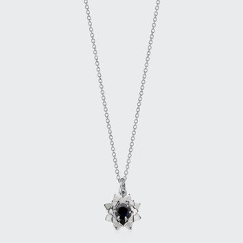 Protea Charm Necklace with Stone - silver/midnight sapphire