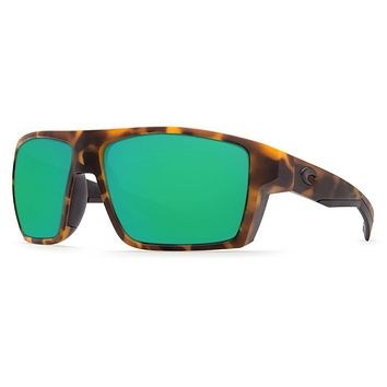 Bloke Sunglasses in Matte Retro Tortoise & Matte Black with Green Mirror Polarized Glass Lenses by Costa del Mar