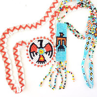 Necklace set of 2 Native American beaded necklace, Native American beaded jewelry, navajo necklace, tribal necklace boho beaded necklace