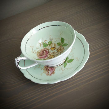 Antique Paragon pale greenfloral tea cup and saucer with silver detailing, English tea set, bone china wedding gift