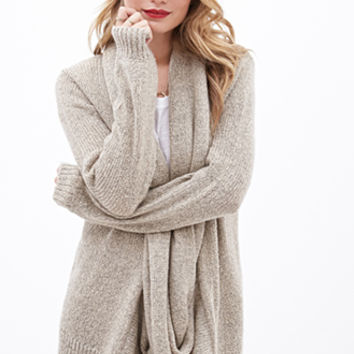 LOVE 21 Draped Attached-Scarf Cardigan