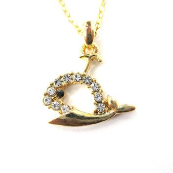 Rhinestone Whale Cut Out Shaped Pendant Necklace in Gold | DOTOLY