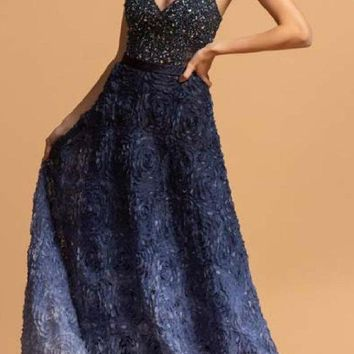 Long A-Line Ombre Navy Blue Prom Gown Spaghetti Straps