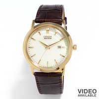 Citizen Eco-Drive Rose Gold Tone Stainless Steel Leather Watch - BM7193-07B - Men