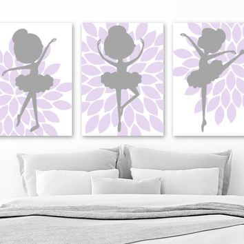 BALLERINA Wall Art, Flower BALLERINA CANVAS or Prints, Lilac Gray Baby Girl Nursery Decor, Girl Flower Bedroom Ballerina Pictures, Set of 3
