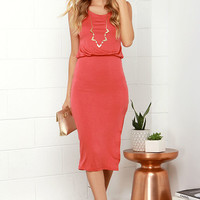 Walk On By Coral Red Midi Dress