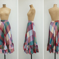 1970s Skirt - Vintage 1970s Purple Plaid Skirt - Pruno Skirt