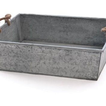 "Galvanized Tin Tray, 23"", Storage Boxes & Bins"