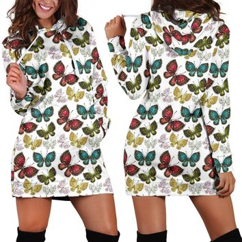Boho Butterfly Hoodie Dress