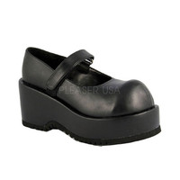 Black Maryjane Platform Wedges Faux Leather