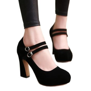 KAIRNLUNA Large size 34-43 mary janes women shoes woman high heels elegant buckle strap office lady party wedding pumps
