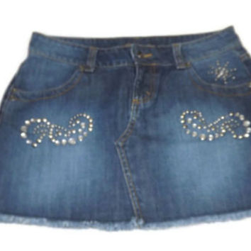 new JORDACHE Teen Girls Distressed metal Rhinestone Jeans Jean  Skirt Size 3 / 4