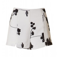 See You Again Floral Embroidered Dress Shorts - Black/White