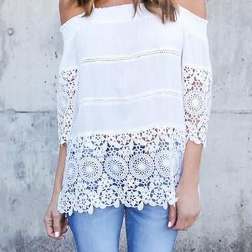 White Patchwork Cut Out Lace Spaghetti Strap Off Shoulder Blouse