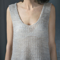 Knitted women vest vintage - light lady sweater short sleeve Italy made - knit blouse see through - knit top angora wool gray sandy