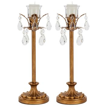 Vintage 1-Light Metal Palm Tree Candlestick Holder Set of 2 (Gold)