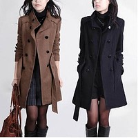 Trench Woolen Coat Winter Slim Double Breasted Overcoat Long Outerwear for Women