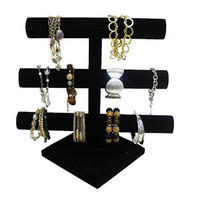 Black Velvet Level T-Bar Bracelet Necklace Jewelry Display Stand for Home Organization by Super Z Outlet®