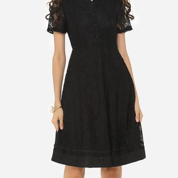 Casual V Neck Lace Lace Plain Skater Dress