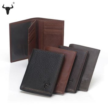 FAMOUSFAMILY Men Wallets Large Zip Coin Bags Genuine Leather Credit Card Slots Photo Holder Casual Purse Zipper Pocket Bag Large